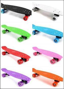 "22"" Complete Plastic Deck Street Skateboard Retro Wave Cruis"