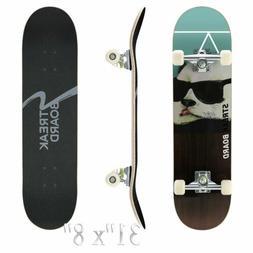 31''x 8'' Complete PANDA Skateboard Double Kick Deck Concave