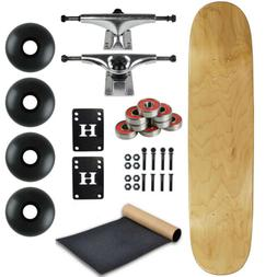 """Blank Skateboard Complete 8.0"""" Natural with Silver Trucks an"""