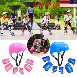 Boys Girls Kids Safety Helmet & Knee & Elbow Pad Set For Sco