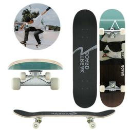 Complete Skateboard Double Kick Deck Concave White Wheels 31