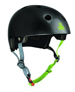 Triple Eight Dual Certified Helmet, Black Gloss/Zest, Small/