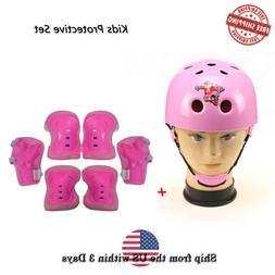 Girl Pink Elbow Knee Helmet Protective Guard Skateboard Pad