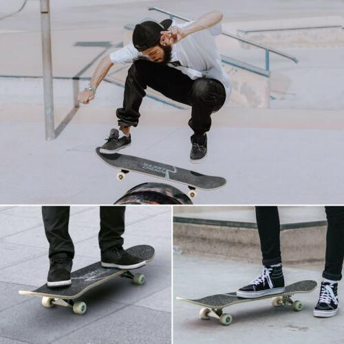 Complete Skateboard Deck Concave With Wheels 31''x 8'' INK