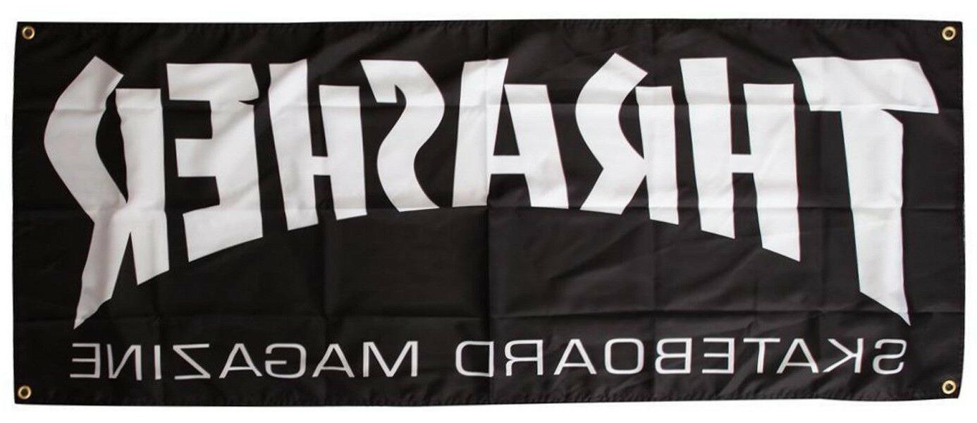 magazine logo skateboard banner black 58 x