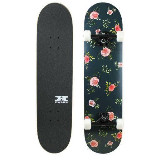 pro skateboard complete pre built floral flowers