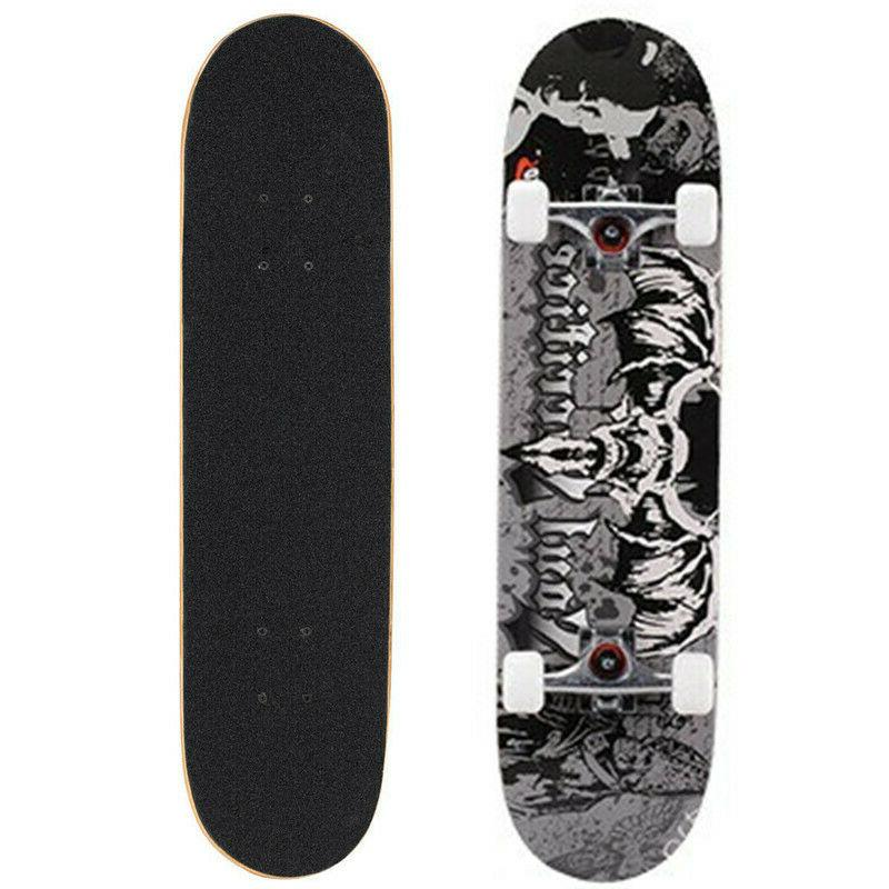 Complete 4 Wheel Skateboard Double Kick Deck Concave With Wh