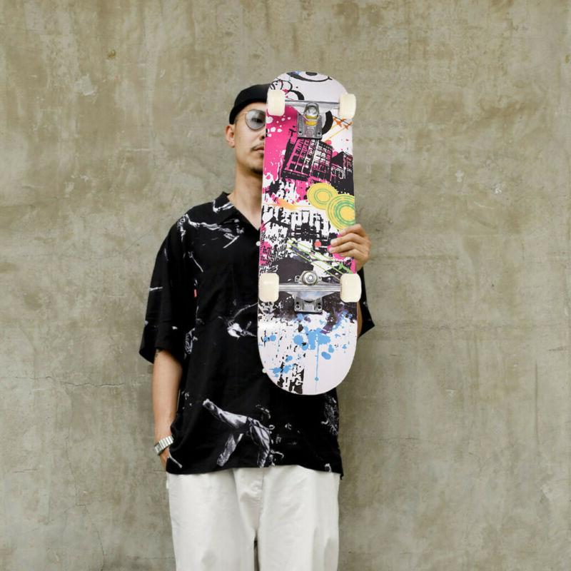 Adult Complete Skateboard Stained BLACK 31in Skateboards, Re
