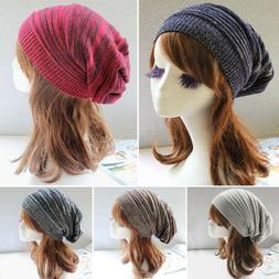Women Men Knitted Winter Warm Slouch Beanie Hat Stripe Cap S
