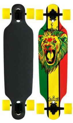 Professional Longboard Drop Through Skateboard KROWN RASTA F