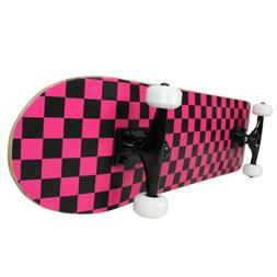 PRO Skateboard Complete Pre-Built CHECKER PATTERN Black/Pink