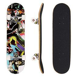 "Hikole 31"" Pro Skateboard Complete 9 Layer Canadian Maple Wo"