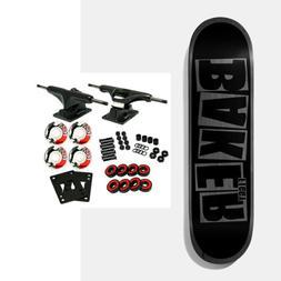 "Baker Skateboard Complete Figgy Brand Name Black/Grey 8.38"""