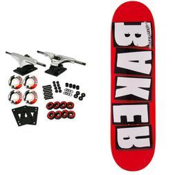 BAKER Skateboard Complete LOGO WHITE 8.0' Raw Trucks White W