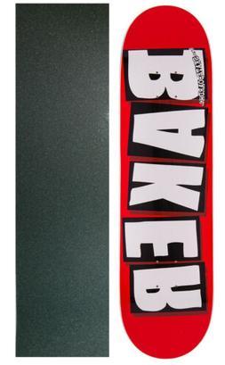 """BAKER SKATEBOARD DECK Brand Logo White 8.5"""" with MOB GRIPTAP"""