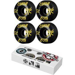 BONES Skateboard Wheels 100's Black with INDEPENDENT ABEC 5
