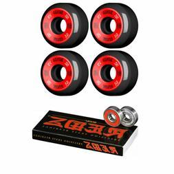 Bones Skateboard Wheels 52mm 100's Black With Reds Bearings