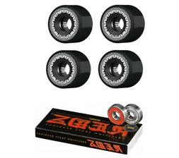 Bones Skateboard Wheels Rough Riders Black 59mm 80A with Red