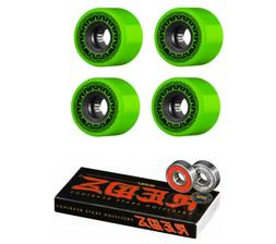 Bones Skateboard Wheels Rough Riders Green 59mm 80A with Red