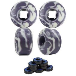 Skateboard Wheels Set 52mm x 32mm 99A Purple/White Swirl wit