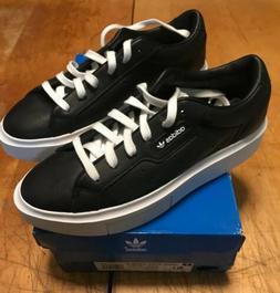Adidas Sleek Super Womens 6.5 Black Leather Shoe Sneaker Ska