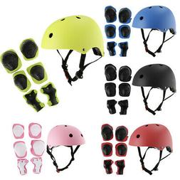 Unisex Boys Girls Skateboard Bike Cycling Helmet Wrist/Knee/